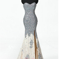 Sexy 2013 Custom Silver Sweetheart Mermaid Crystal Beaded Split up Formal Long Prom Evening Party Bridesmaid Cocktail Homecoming Dress Gown
