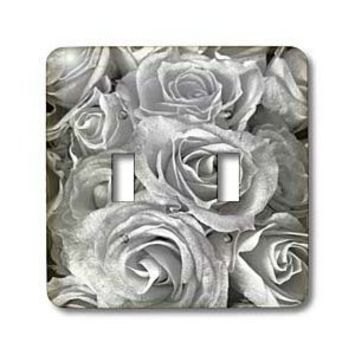 3dRose LLC lsp_29902_2 Close Up Scene of Dreamy Soft Silver Gray Roses Double Toggle Switch