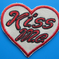 """Iron on Embroidered Patch KISS ME with your Heart 2.5"""""""