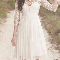 Knee-length beach wedding dress, 3/4 Lace Sleeves Wedding Dress Chiffon prom dress party dress bridesmaid dress, V Neck Short Wedding Dress