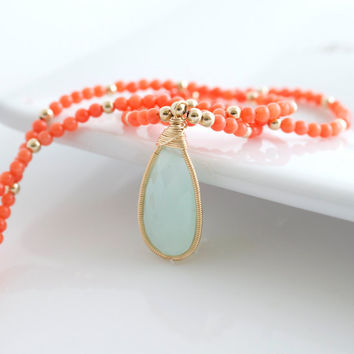 Coral Necklace, Chalcedony Pendant Necklace, Beaded Necklace, Pendant Necklace, Orange and Blue Necklace, Gemstone Necklace