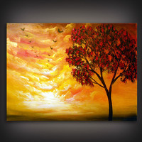retro cloud painting tree painting large abstract by mattsart