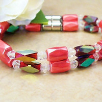 Red Double Magnetic Bracelet  Size 6 MB12