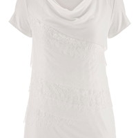 Lace And Mesh Tiered Drape Neck Top