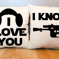 """Star Wars """"I Love You/I Know"""" Pillow Set"""