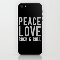 Peace Love Rock & Roll iPhone & iPod Skin by Tchea-ster