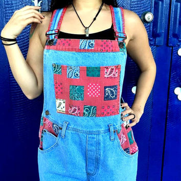 Vintage 90s Denim Overall Shorts - Designer Jean Bib Overalls by PARIS SPORT CLUB - Red Decorative Stitching, Red Paisley Denim Patches S M