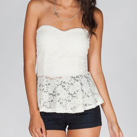 Full Tilt Lace Womens Peplum Tube Top Cream  In Sizes