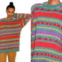 Vtg Grandpa Knit Tribal Printed Green Yellow Red by LuluTresors