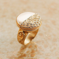 Antique Round Rose Gold Ring with Scroll Pattern