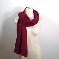 Burgundy Linen Scarf - Long Maroon Scarf - Bloodroses - Petite Size Scarf - Long Scarf
