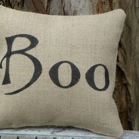 Halloween Boo burlap accent pillow cushion by samantha2818 on Etsy