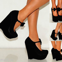 BLACK BOWS MARY JANES PLATFORMS WEDGED WEDGES PLATFORMS PARTY HIGH HEELS SHOES