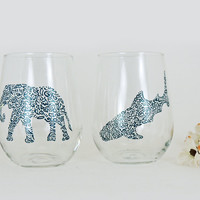 Elephant and whale shark glasses - Hand painted stemless white wine glasses - Set of 2