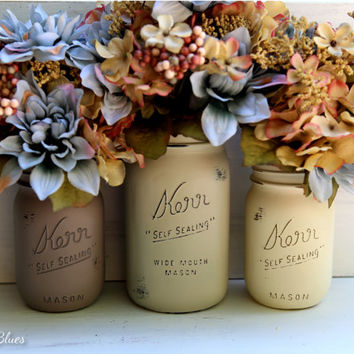 Rustic Earthtones, Fall, Thanksgiving Decor, Hostess Gift, Painted Mason Jars, Vase, Centerpiece