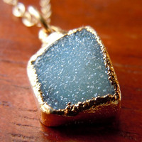 Druzy Necklace in Midnight Blue by 443Jewelry on Etsy