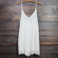 gauze boho crochet lace hem romper in white