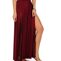 Burgundy Double Front Slit Maxi