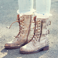 The Aberdeen Studded Combat Boots in Sand