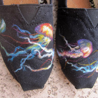 Colorful Jellyfish Painted TOMS by reneezhan on Etsy
