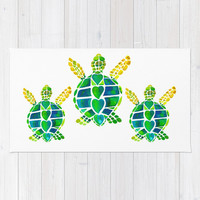 Sea Turtle Love Bath Mat -  vibrant green , watercolor painting, sea life design, ocean, surf, surfer, rubber backed, Plush mat -  matches