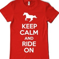 Keep Calm and Ride On (Junior)-Female Red T-Shirt