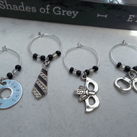 Fifty Shades of Grey Wine Glass Charms Set of 4 by DallaLuna