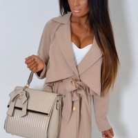 Double Breasted Mac Coat with Gold Buttons | Pink Boutique
