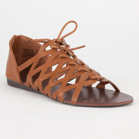 Bamboo Mason Womens Sandals Cognac  In Sizes