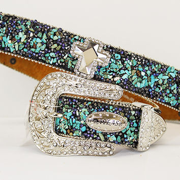 Full Turquoise Bling belt with Cross Concho