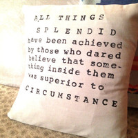 Quote Pillow - Handmade Natural Linen Pillow Cover