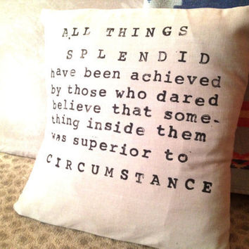 Handmade and Hand Stamped Quote Pillow Cover by CasayCosecha