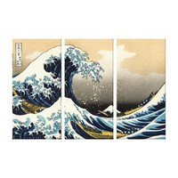 Great Wave Off Kanagawa by Hokusai Stretched Canvas Print from Zazzle.com