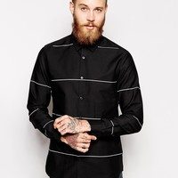 ASOS Smart Shirt in Long Sleeve With Engineered Stripe at asos.com