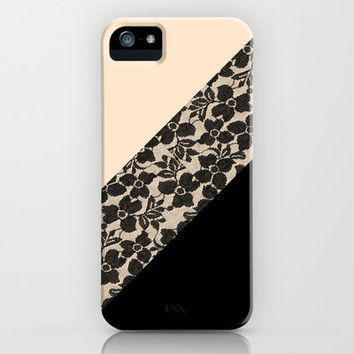 Elegant Peach Ivory Black Floral Lace Color Block iPhone & iPod Case by Girly Trend
