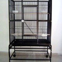 New Large Wrought Iron 4 Levels Ferret Chinchilla Sugar Glider Small Animal Cage 32-Inch by 19-Inch by 64-Inch With Removable Rolling Stand on Wheels *Black Vein*