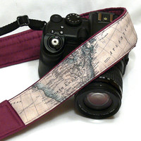 World Map Camera Strap. Photo camera Accessories. SLR, DSLR Camera Strap. Gift For Photographer.