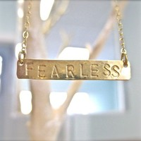 Gold FEARLESS Necklace  Long Horizontal Bar by onelifejewelry