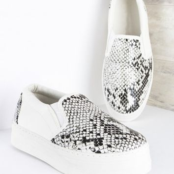 Jungle Snake Print Slip On Flatforms White | LASULA