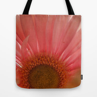 Pastel Pink and Yellow Daisy Center Tote Bag by Blooming Vine Design