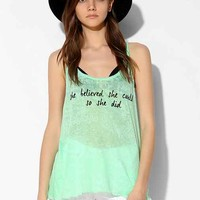 Native Rose Because She Could Burnout Racerback Tank Top- Green