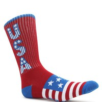 On The Byas USA All The Way Crew Socks - Mens Socks - Red - One