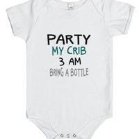 Party My Crib 3 AM Baby One Piece-Unisex White Baby Onesuit 00