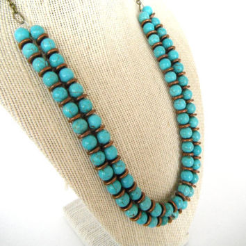 Blue Green Round Turquoise and Copper Double by SycamoreSticks
