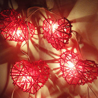 20 Red Heart Rattan Lover Fairy Lights String 3m by marwincraft