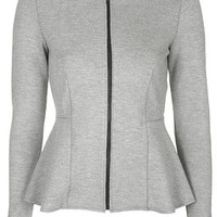Raw Edge Peplum Jacket - Grey