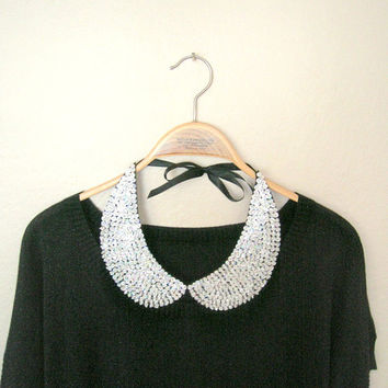 Handmade silver collar necklace, silver sequined collar necklace