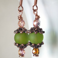 Olive Green Copper Glow Earrings. Vintage Inspired, Filigree, Romantic