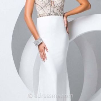 Jersey Halter Column Prom Gown by Tony Bowls Paris