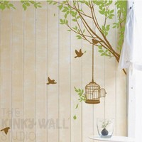 Branches Corner with Decorative Bird Cage  vinyl by KinkyWall